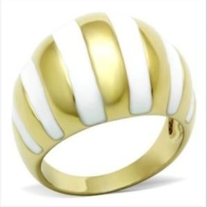 Gold Stripes Art Deco Cocktail Ring Size 9 10